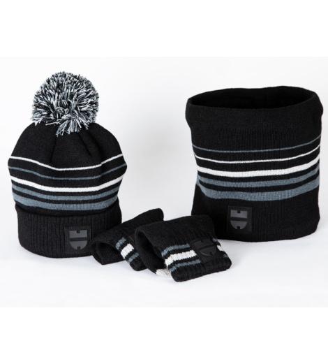 Winter Set, Handschuhe grau mit Touchscreen-Funktion, kuscheliger Nackenwärmer
