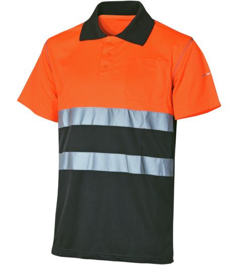 Foto de Polo de Trabajo Alta Visibilidad 1/2 Naranja/Gris