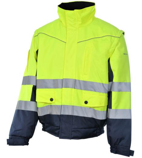Foto van Würth MODYF 2-in-1 high visibility werkjack, geel/marineblauw