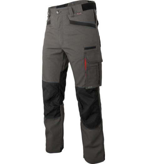 Modische und robuste Arbeitshose, Farbe grau, aus elastischem Canvas-Gewebe, mit Cordura Knieverstärkungen, EN 14404