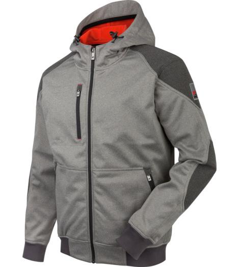 Veste de travail coupe-vent, imperméable et chaude, veste softshell grise, look sportif et moderne, avec capuche.
