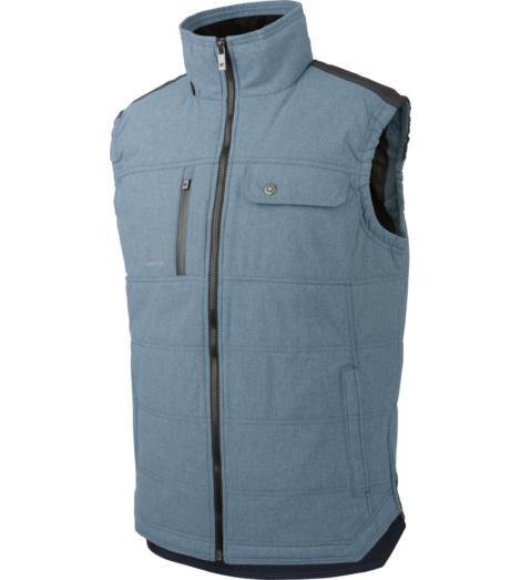 Blauw werkgilet, warm en functioneel, winddicht, waterafstotend en ademend, met praktische ritssluiting, eenvoudig te combineren.