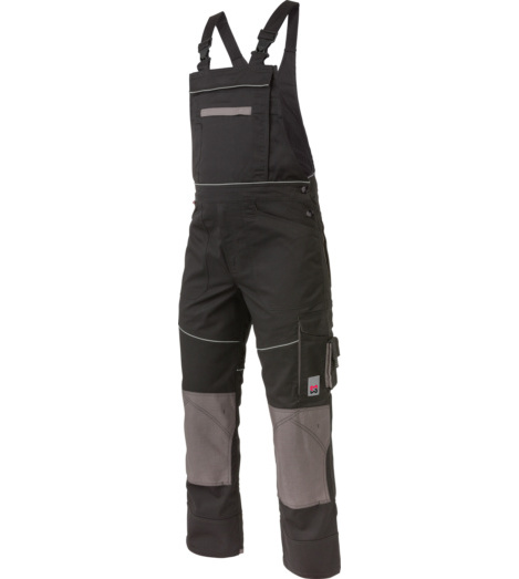 Modische und praktische Arbeitslatzhose in Schwarz, aus robustem Mischgewebe, EN 14404 mit Cordura Knietaschen