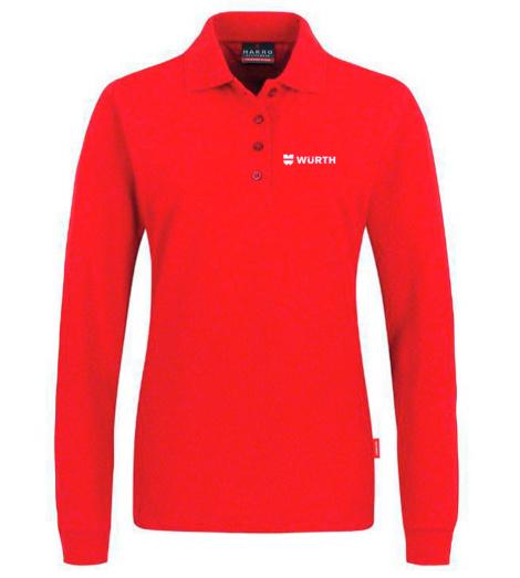 Foto von Langarm-Poloshirt Performance Damen Rot mit Würth Logo
