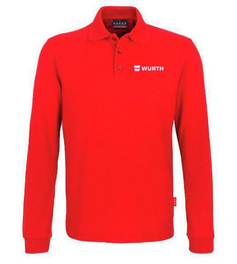 Foto von Langarm-Poloshirt Performance Herren Rot mit Würth Logo