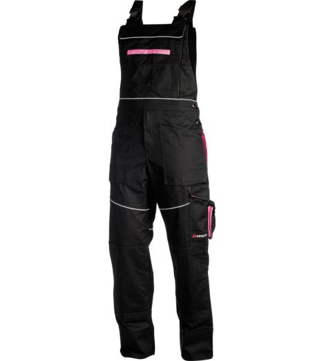 Rosa Latzhose für Damen, bequem & elastisch, feminin & modern, schwarz - rosa