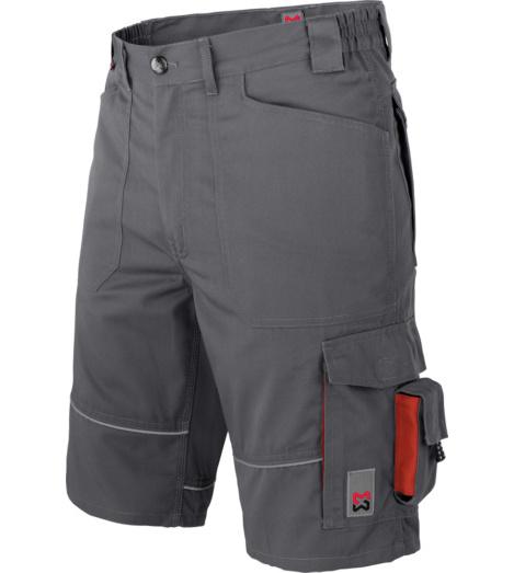 Bermuda de travail de couleur grise, confortable à porter, short pour l'été, ceinture élastique, look sportif.