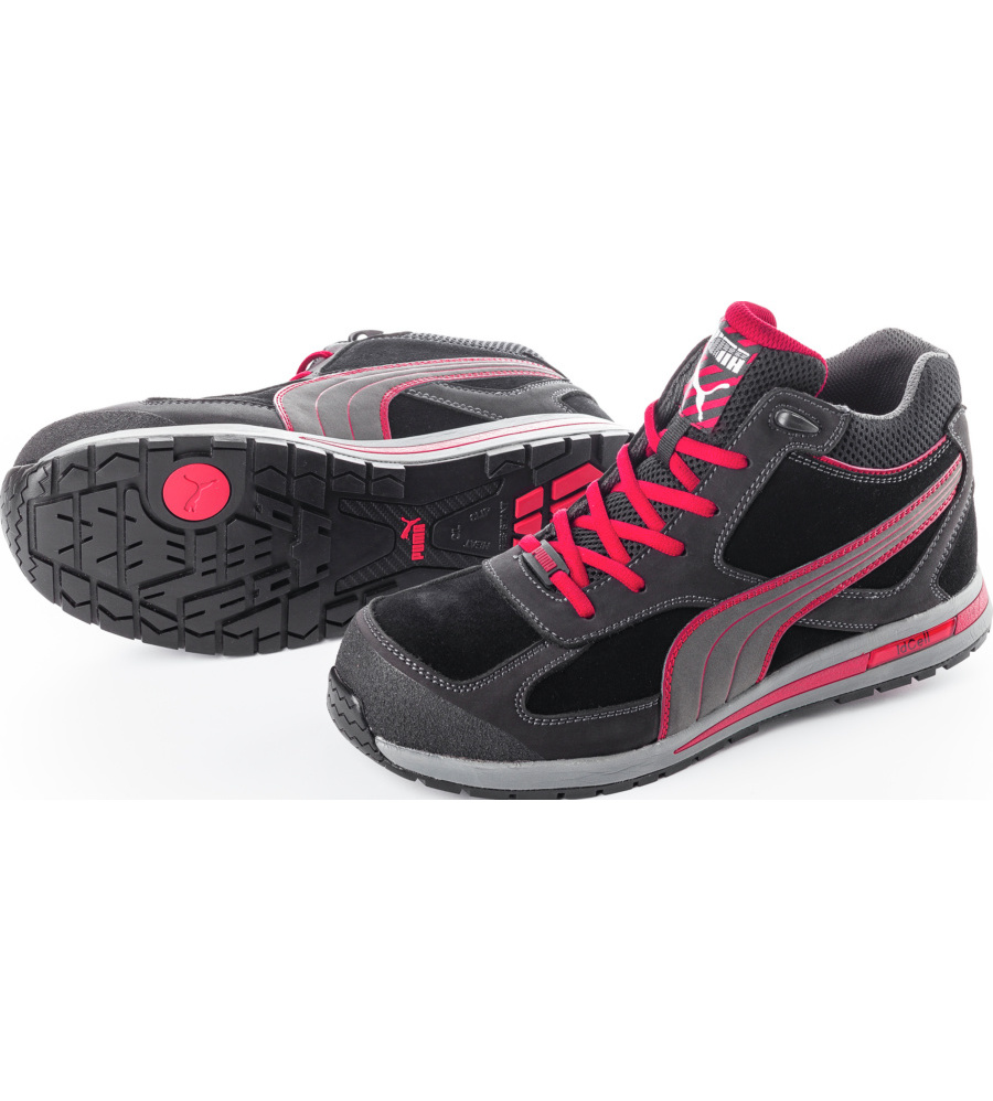 Soepele Werkschoenen.Veiligheidsschoenen Puma Rio S3 Src Zwart Rood