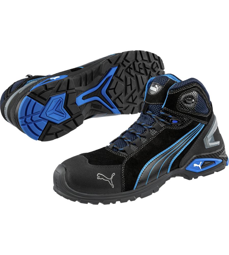 Werkschoenen S3 Puma.Veiligheidsschoenen Puma Rio S3 Src Zwart Blauw