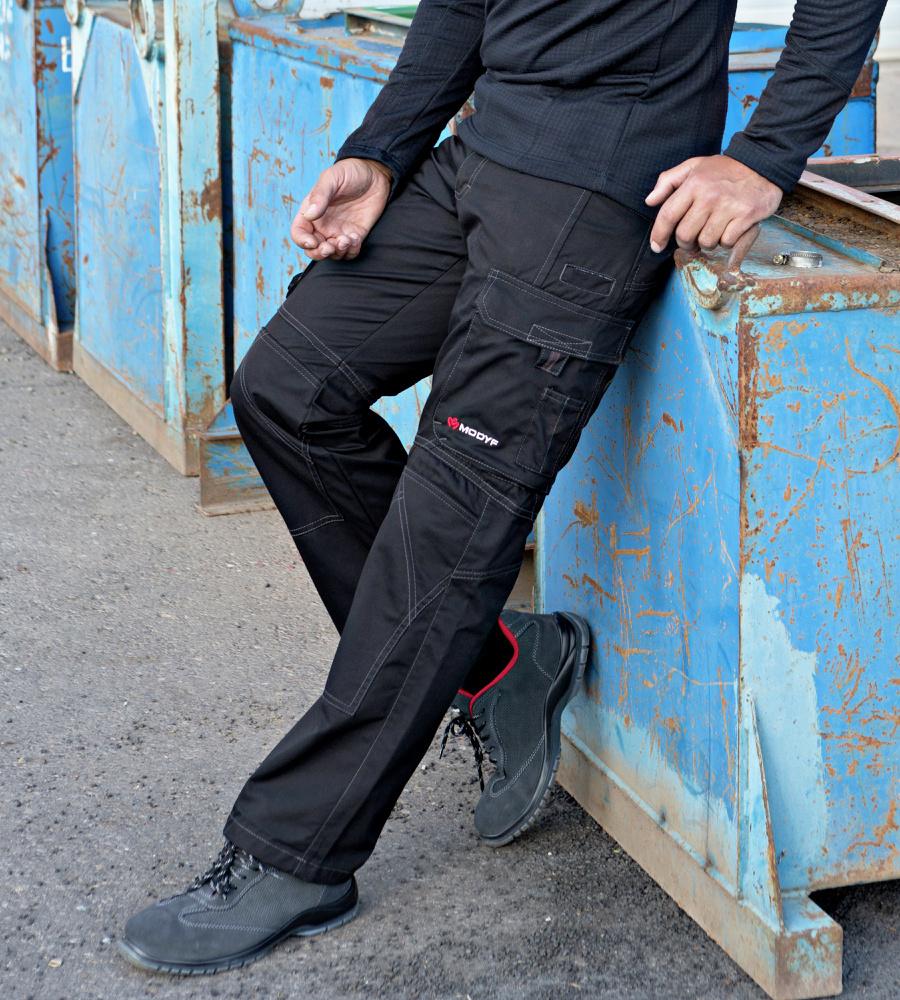 Pantalon de travail noir homme multipoches modyf - Pantalon multipoche homme ...