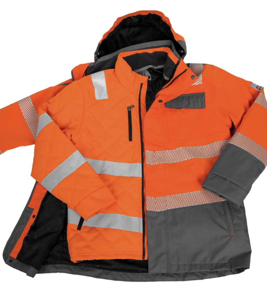 Kleidung Warnschutz Winter Parka 3in1 Neon En 20471 3 Orange Anthrazit
