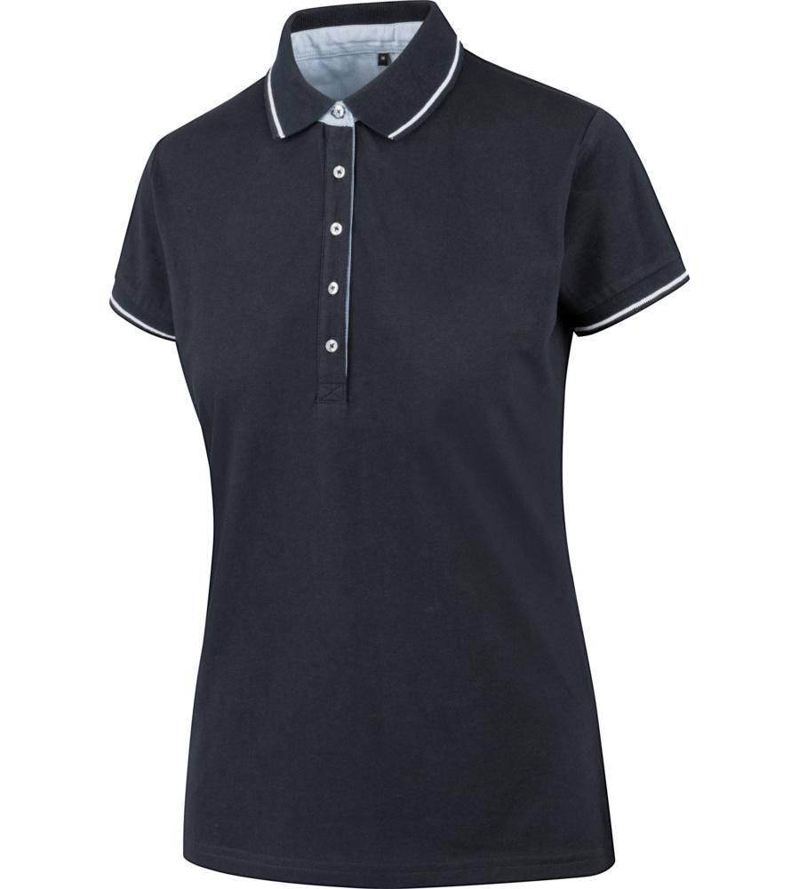 6bacbaf4ea80 Polo blu da donna a manica corta 100% cotone