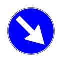 Rotierendes Informationsschild, vorgeschriebene Richtung