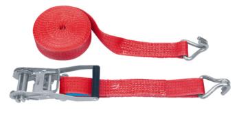 Ratchet strap, double hook standard ratchet, outer label - TSTRP-RTCH-DBPOINTHOOK-4T-W50MM-L9,5M