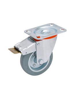 Apparathjul med drejebeslag og låsebremse