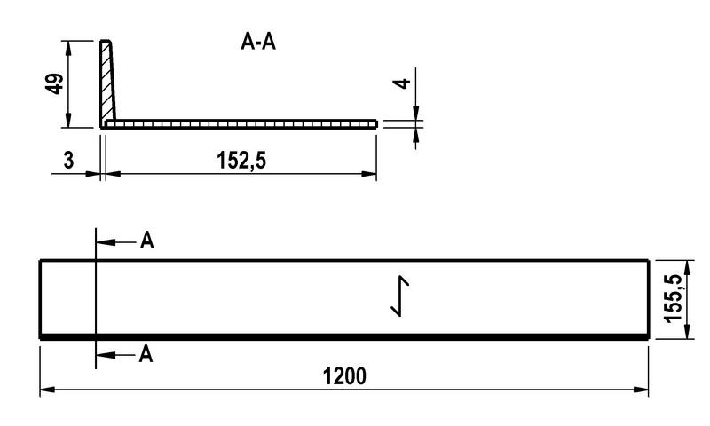 Diepte uitbreiding bestekbak nominale lengte 650 - Uitbreiding hoogte ...