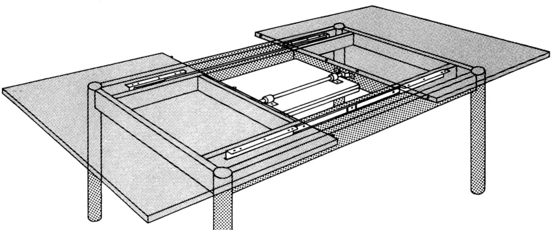 Guida per tavolo allungabile con apertura centrale 0684080206 - Guide per tavoli allungabili ...