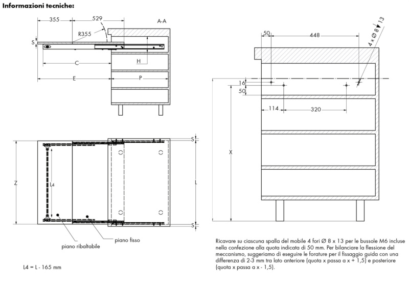 Tavolo a cassetto estraibile  COCKTAIL - TAVOLO-CASSETTO-ESTR-COCKTAIL-MOD-1200