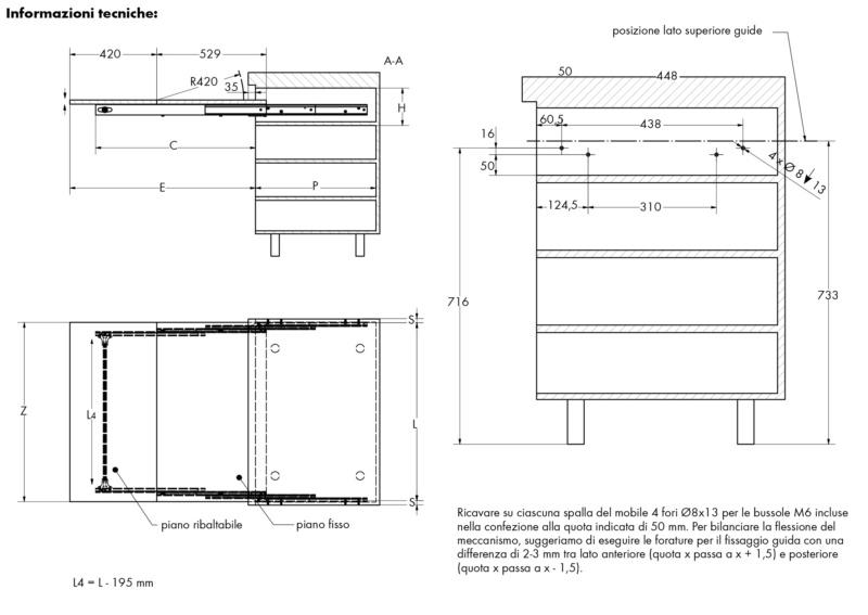 Tavolo a cassetto estraibile  LUNCH - TAVOLO-CASSETTO-ESTR-LUNCH-MOD-1200MM
