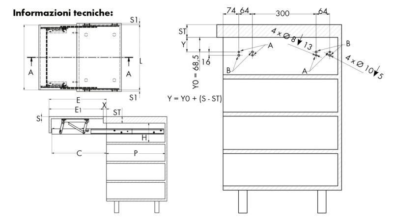 Piano estraibile a filo  TOP OPLÀ - PIANO-ESTRAIBILE-OPLA-TOP-MOD-450MM