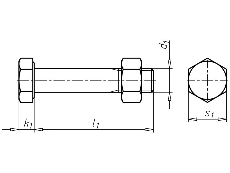 DIN 7990 acciaio 4.6 zincato a caldo, con dado - V.TE C/DADO DIN7990 4.6 ZNF M24X140