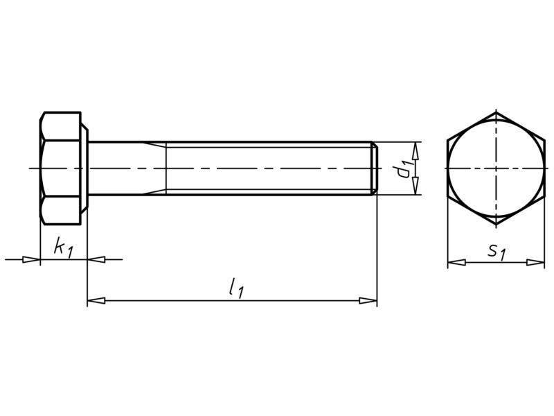 Vis à tête hexagonale à filetage partiel - VIS-DIN931-8.8-CLÉ19-(A3C)-M12X190