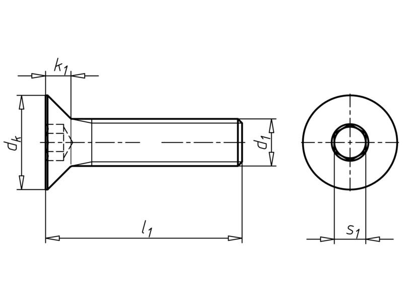 Vis à tête fraisée à six pans creux - VIS-FHC-ISO10642-A2/070-CLE6-M10X50