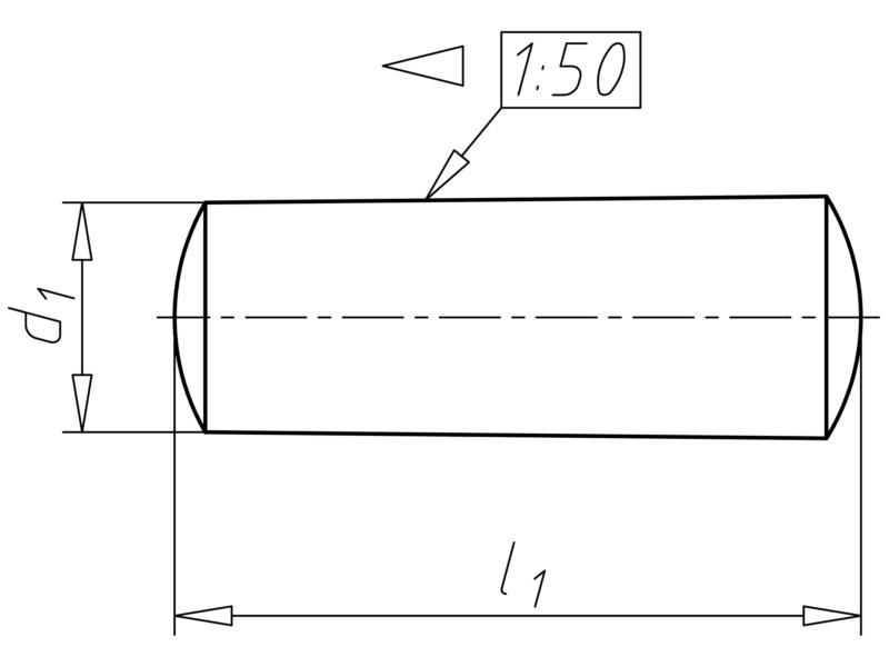 Kolík kuželový nekalený - KLK-KUŽ-DIN1-NEKLNÝ-B-A4-4X30