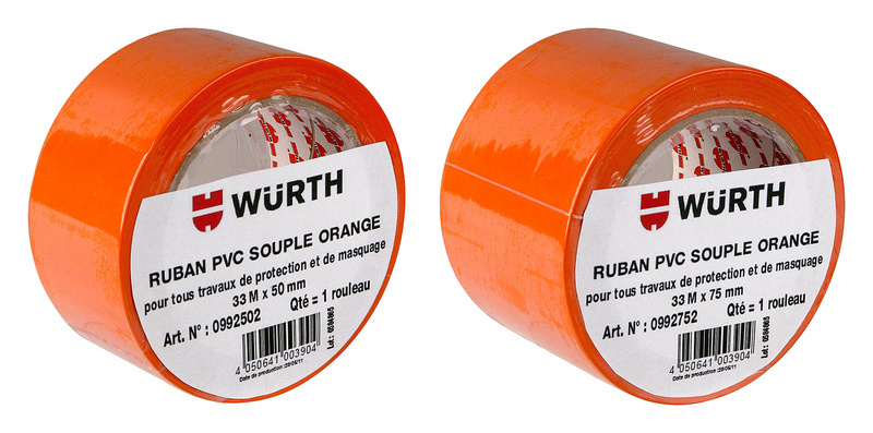 Ruban PVC orange - RUBAN PVC SOUPLE ORANGE 50MM X 33M