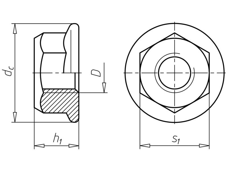 sechskantmutter mit klemmteil und flansch nach mbn 026391 14. Black Bedroom Furniture Sets. Home Design Ideas
