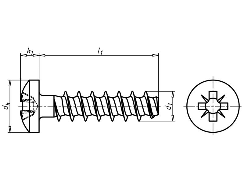 WÜPLAST<SUP>® </SUP>Linsenkopfschraube mit Kreuzschlitz Z - SHR-LIKPF-W1412-Z2-10.9-(P3E)-5X14