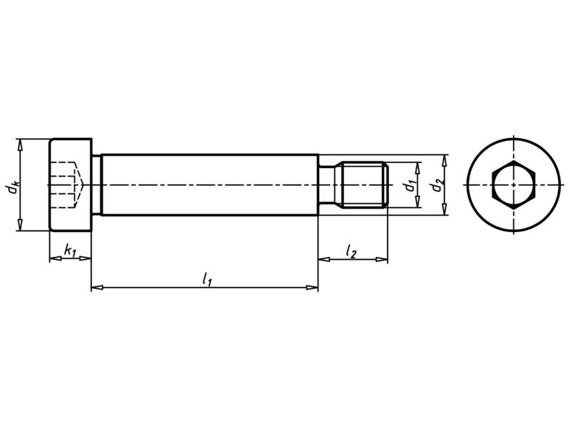 Hengeresfejű csavar belső hatlapú kulcsnyílással és vállal - SCR-CYL-ISO7379-012.9-F9-DS20-M16X90