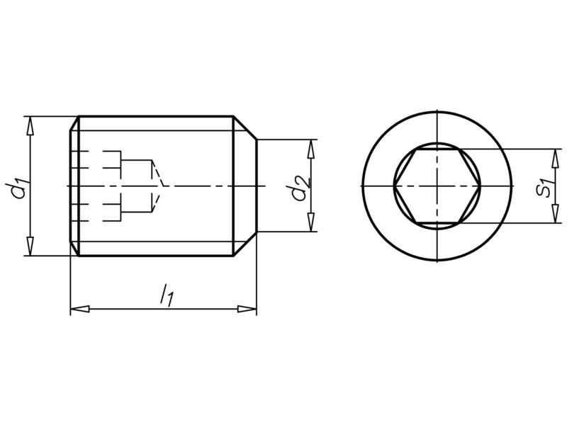 Belső kulcsnyílású hernyócsavar csonkított kúppal - HRNYCS-TOMPA-ISO4026-45H-BK5-M10X80