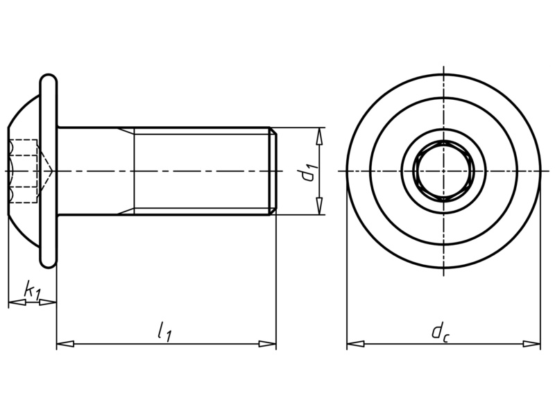 Schraube abgeflachter Halbrundkopf mit Bund und Innensechskant - SHR-FLSH-ISO7380/2-A2/070-IS2-M3X8