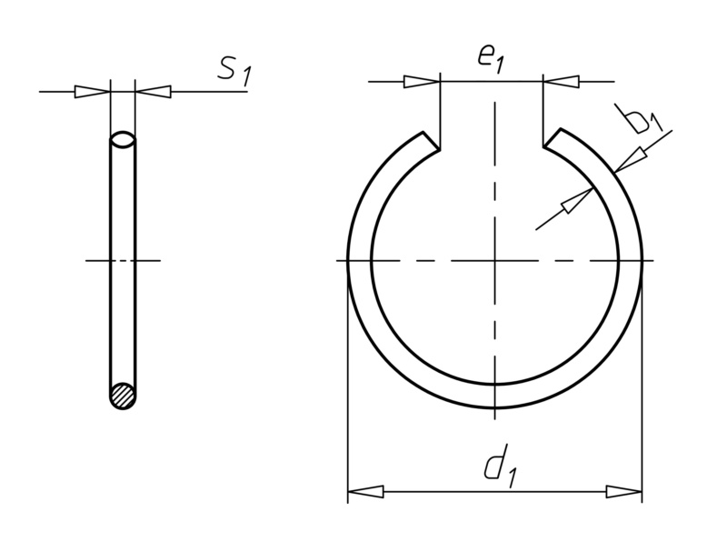 round wire snap ring and snap ring groove shape rb for