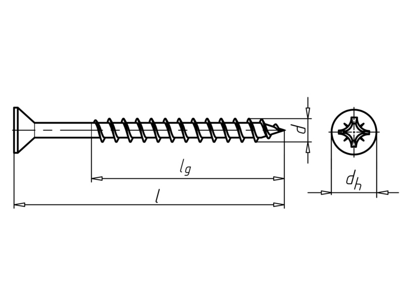 WÜPOFAST<SUP>®</SUP>, blue galvanised Particle board screw - SCR-CS-WO-Z2-(A2K)-5X120/70
