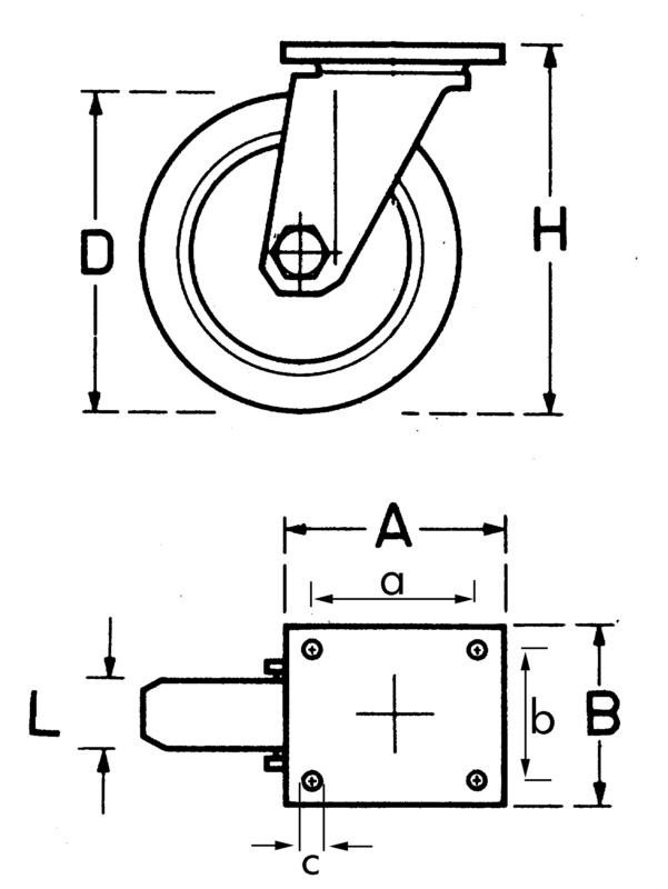 Roulette de manutention - ROUE POLYU RGE INOX D100MM PIVOTAN