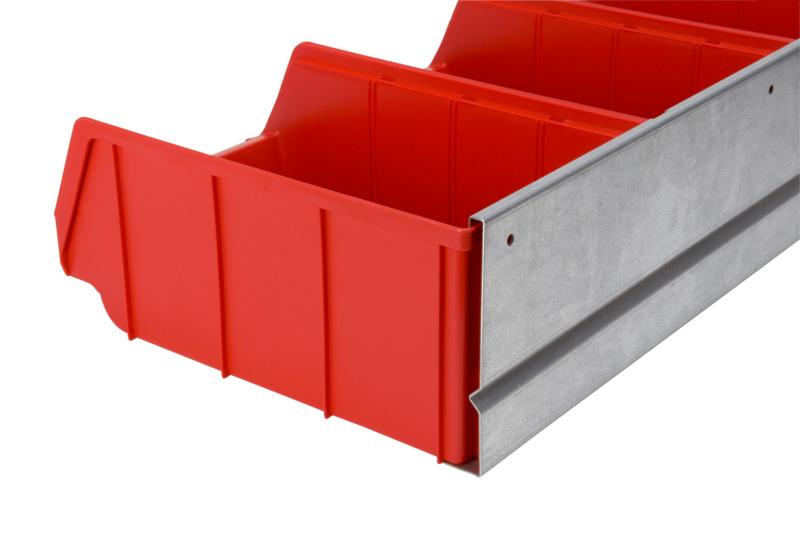 sichtlagerboxen set mit wandschiene 096061. Black Bedroom Furniture Sets. Home Design Ideas