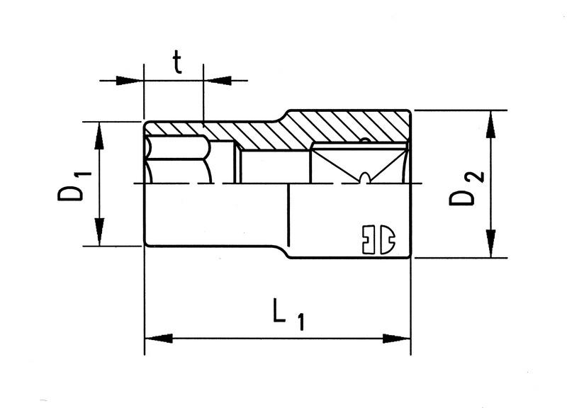 "3/8 colos dugókulcs, metrikus hatszög, rövid - HL.DUGÓKULCS 3/8"" SW17"