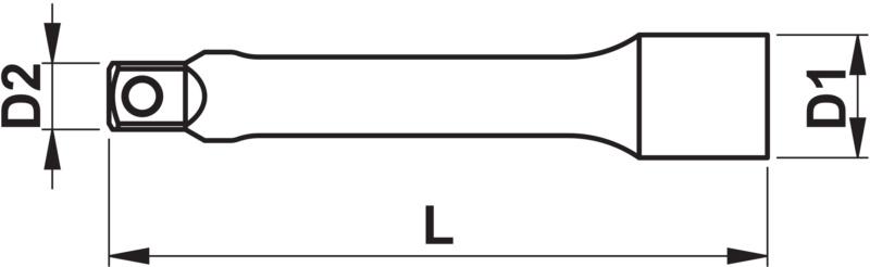 Przedłużenie kątowe 1⁄4 cala - EXT-1/4IN-WOBBLE-L25MM