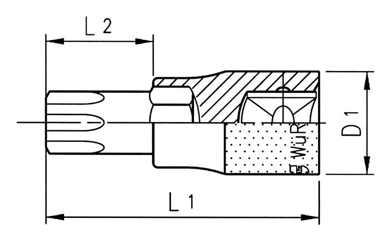 Klucz nasadowy 1/4 cala TX - NASADKA T-WEW 15 1/4
