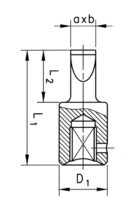 Klucz nasadowy 1/4 cala rowkowany - GROT    1/4 - 5,5X1 L= 28 MM