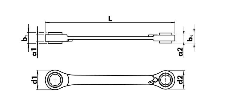 Zestaw kluczy oczkowych dwustronnych z grzechotką - ZEST.KLUCZY SW8-SW19 ZEBRA + ADAPTER