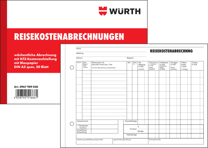 Form travel expenses accounting | WÜRTH