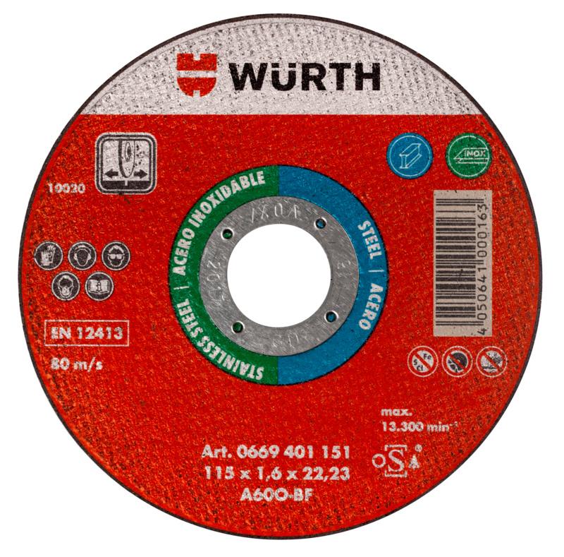 Mola da taglio per acciaio e acciaio inossidabile - MOLA TAGL. WUERTH INOX/ACC.  115X1,0