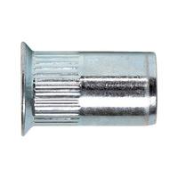 Aluminium, łeb stożk. płaski, trzon radełkowany