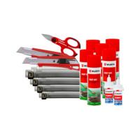 Kit fissaggio 3 fascette - forbici - cutter - sbloccante - adesivo rapido