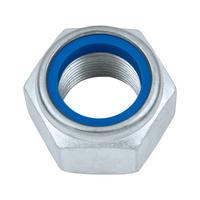 Zeskantmoer, lage vorm, met klemdeel (niet-metalen inzetstuk)