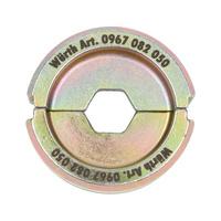 Half-shell hexagon crimping insert