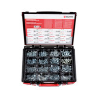 Assortment of hexagon screws, hexagon nuts and washers without chamfers